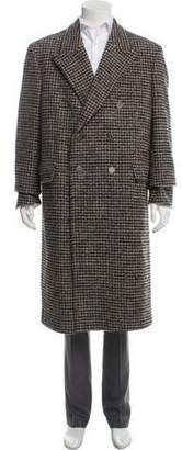 Calvin Klein Double-Breasted Houndstooth Overcoat