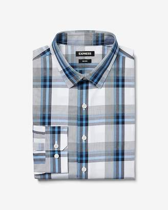Express Slim Non-Iron Plaid Performance Shirt
