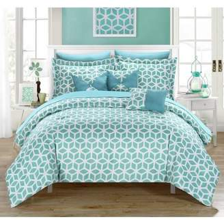 Chic Home 10-Piece Ritchelle Geometric Diamond Printed reversible King Bed In a Bag Comforter Set Green With White Sheets included