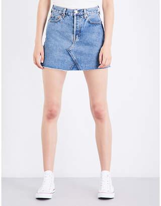 RE/DONE High-waisted distressed denim mini skirt