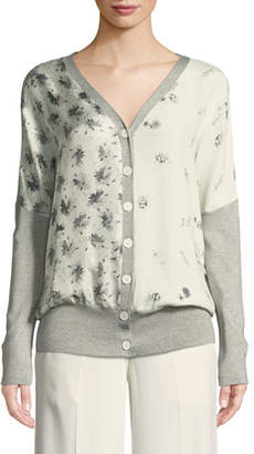 Derek Lam V-Neck Button-Front Mixed-Print Silk-Cotton Cardigan