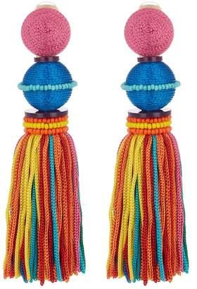 Oscar de la Renta Ball & Tassel Drop Clip On Earrings