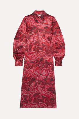 Ganni Printed Stretch-silk Satin Midi Dress - Red