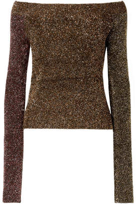 McQ Off-the-shoulder Metallic Knitted Sweater - Bronze