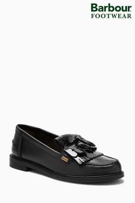 Next Womens Barbour Black Tassel Loafer