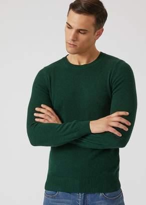 Emporio Armani Crew Neck Sweater In Single Jersey Cashmere