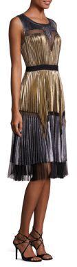 BCBGMAXAZRIABCBGMAXAZRIA Lucea Pleated Metallic Dress