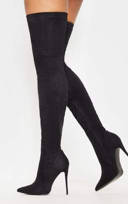 0021148643bf PrettyLittleThing Emmi Black Faux Suede Extreme Thigh High Heeled Boots