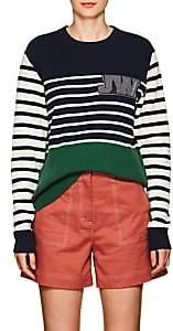 J.W.Anderson Women's Logo Striped Wool Sweater - Emerald