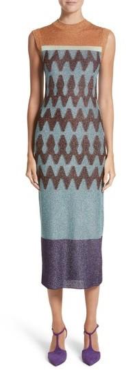 Women's Missoni Colorblock Metallic Knit Midi Dress