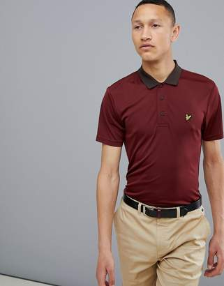Lyle & Scott Golf Kinloch stripe polo shirt in burgundy