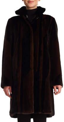 Gorski Mink Intarsia Reversible Stroller Coat