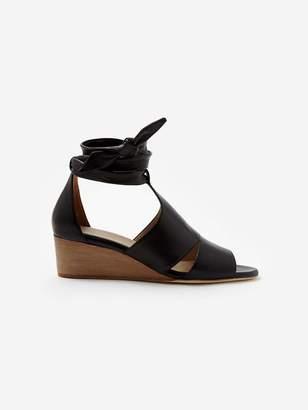 Sclarandis Carla Tie Wedge Sandal in Black Size 36 Leather
