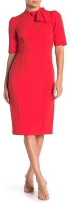 Donna Morgan Tie Neck Sheath Midi Dress