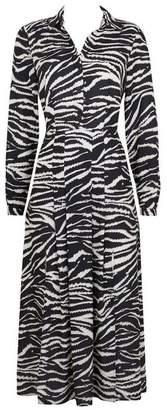 Wallis Monochrome Zebra Print Split Shirt Dress