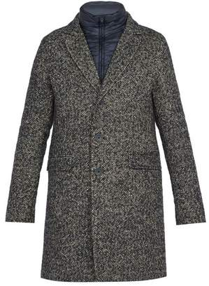 Herno Scott Tweed Overcoat - Mens - Black Multi