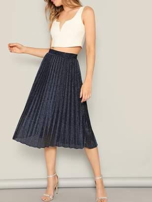 Shein High Waist Pleated Glitter Skirt