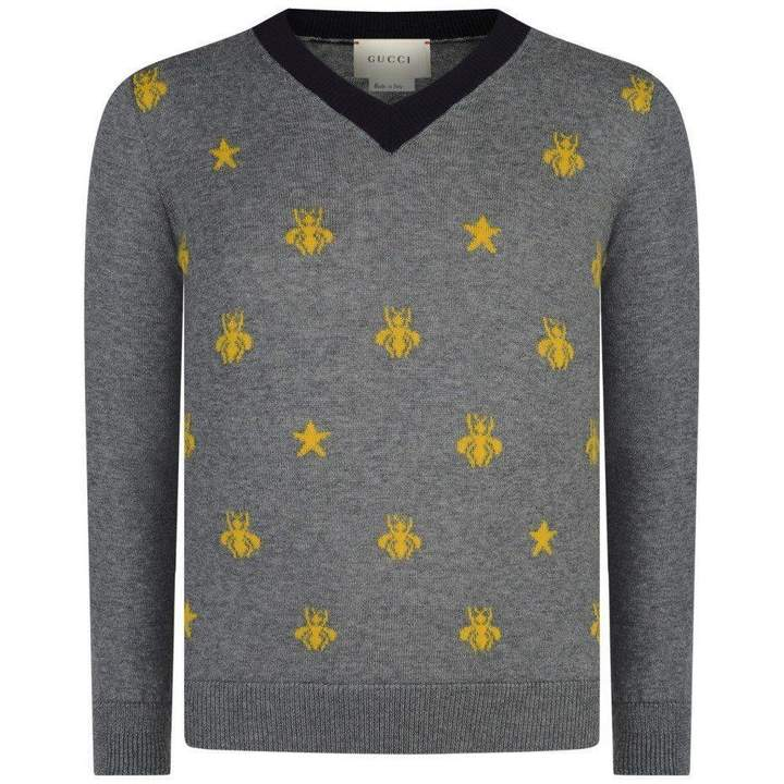 GUCCIBoys Grey Wool Bees & Stars Sweater