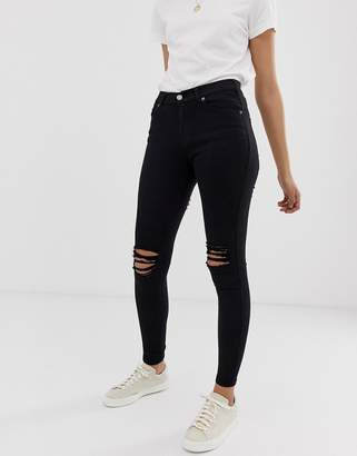 Dr. Denim Lexy Mid Rise Second Skin Super Skinny Ripped Knee Jeans