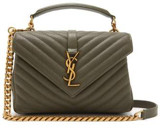 Saint Laurent College Monogram Quilted Leather Cross Body Bag - Womens - Khaki