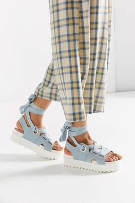Urban Outfitters Denim Ribbon Lace-Up Platform Sandal