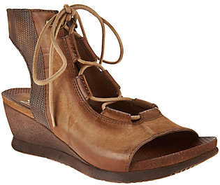 Miz Mooz Leather Lace-up Wedges - Satine