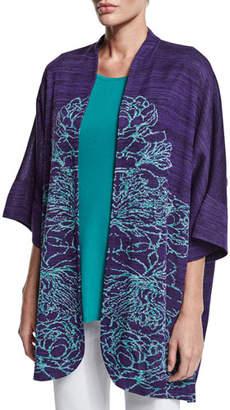 Misook 3/4-Sleeve Floral-Print Jacket
