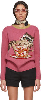 Gucci Pink Jacquard Cat and Glasses Sweater