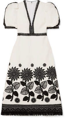 Andrew Gn Fringed Lace-trimmed Woven Dress - White