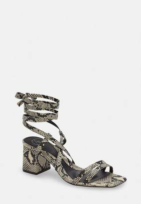 Missguided Gray Snake Two Strap Lace Up Mid Heel Sandals