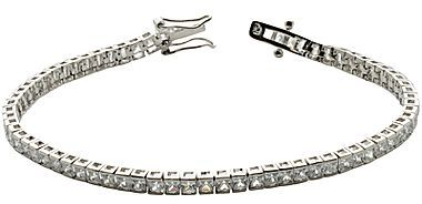 JCPenney Silver-Plated Cubic Zirconia Princess Tennis Bracelet