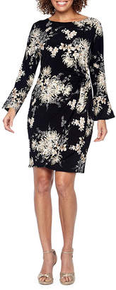 Robbie Bee Long Sleeve Floral Sheath Dress