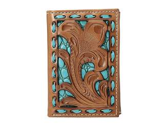 M&F Western Floral Pierced Embossed with Buckstitch Trifold Wallet