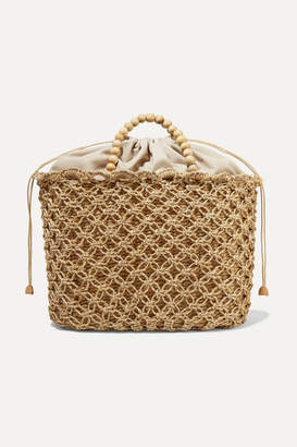Kayu Net Sustain Pippa Woven Seagrass, Macramé And Beaded Tote - Beige