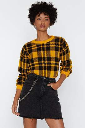 Nasty Gal It's Anyones Game Check Sweater