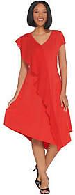 Halston H by Regular Jet Set Jersey Mixed MediaMidi Dress