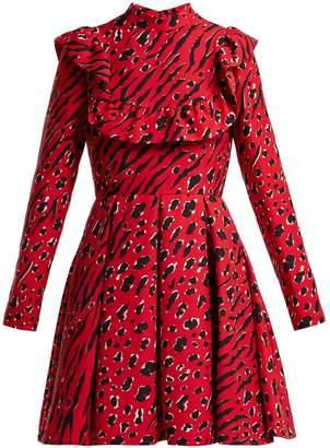 Valentino Animal-print wool-blend skater dress