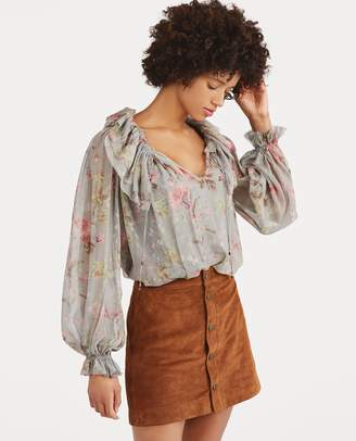 Ralph Lauren Sheer Silk Floral Blouse