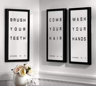 Pottery Barn Bathroom Sign Framed Prints
