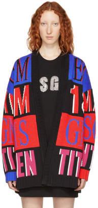 MSGM Multicolor Colorblock Logo Cardigan