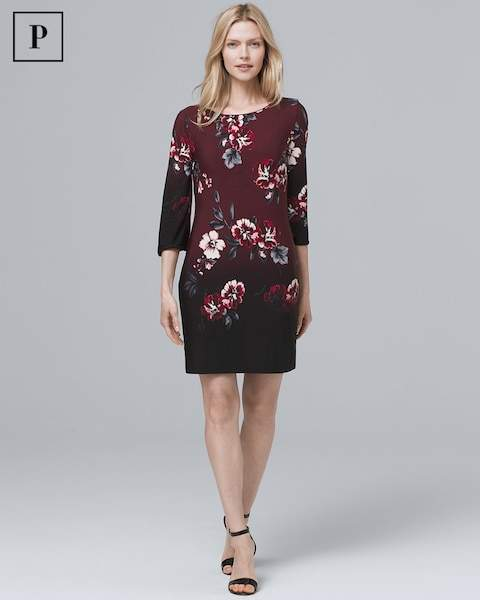 Whbm Ultimate Reversible Floral/Solid V-Neck Shift Dress