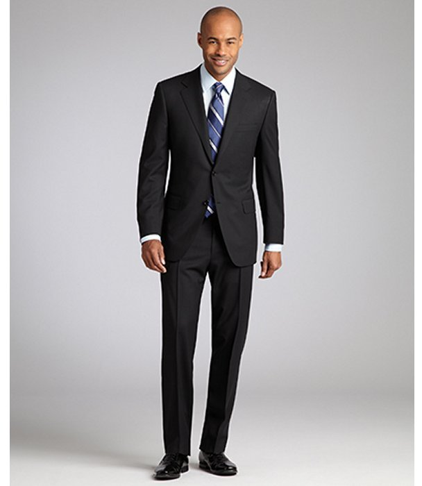 Canali black tonal stripe wool two-button suit with flat front pants