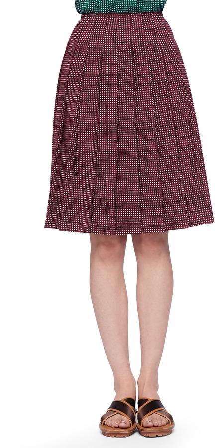 Marc Jacobs Pleated Grid-Print Skirt