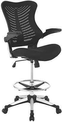 Modway Charge Drafting Chair in Black - Reception Desk Chair - Tall Office Chair for Adjustable Standing Desks - Drafting Table Chair - Flip-Up Arms