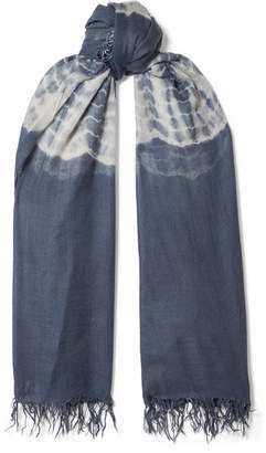 Chan Luu Fringed Tie-dyed Cashmere And Silk-blend Scarf - Blue