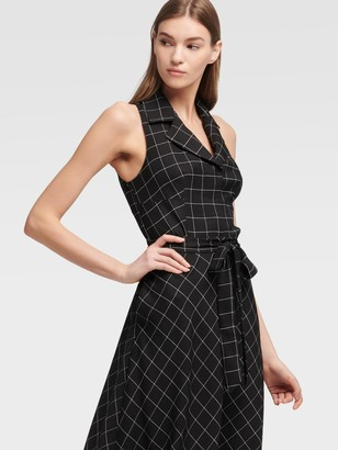 DKNY Window Pane Check Shirt Dress