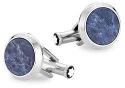 Montblanc Sodalite and Stainless Steel Round Cufflinks