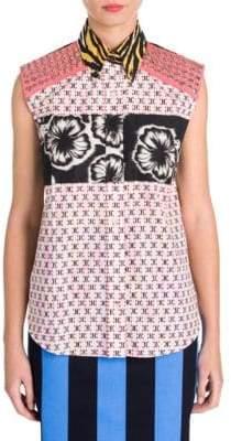 Prada Stripe& Stud Sleeveless Poplin Shirt