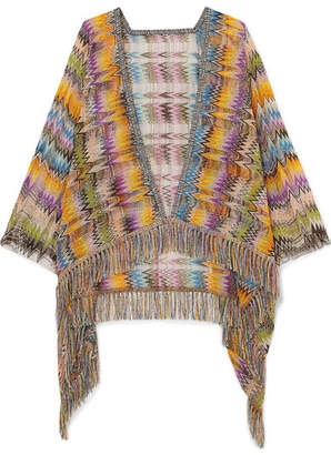 Missoni Fringed Crochet-knit Wrap - Yellow
