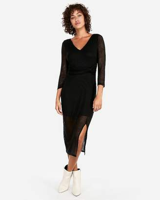 Express V-Neck Twist Front Ribbed Midi Dress